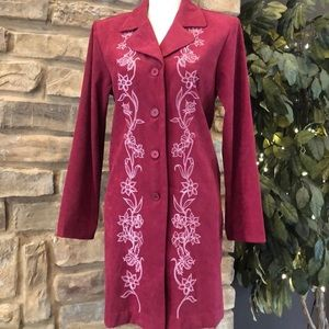 Susan Graver Embroidered Duster Button Jacket NWT